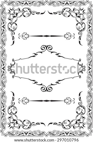 Scroll nice ornane border is on white - stock vector