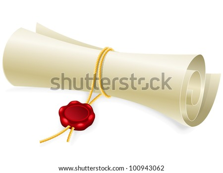 Scroll paper with seal of sealing wax - stock vector