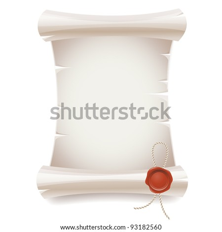 Scroll paper  with seal wax - stock vector