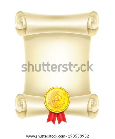 Scroll With Medal - stock vector