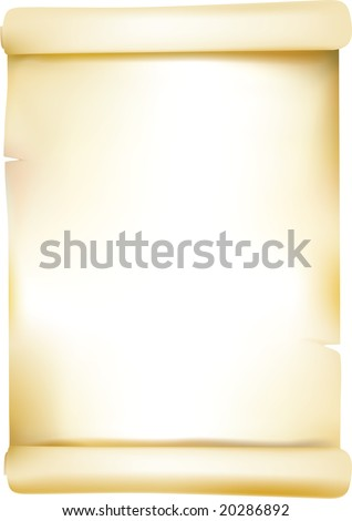 scrolled old paper. mesh used. - stock vector