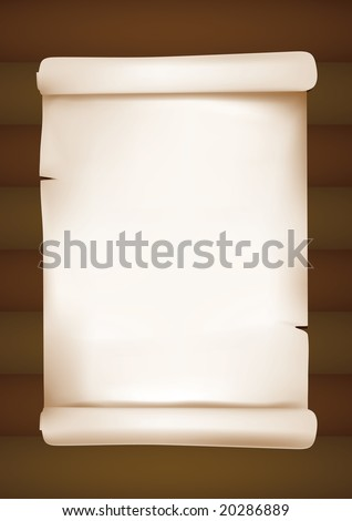 scrolled old paper on wood. mesh used. - stock vector