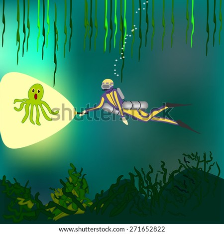 Scuba diver floating with the Lantern worried Octopus - stock vector