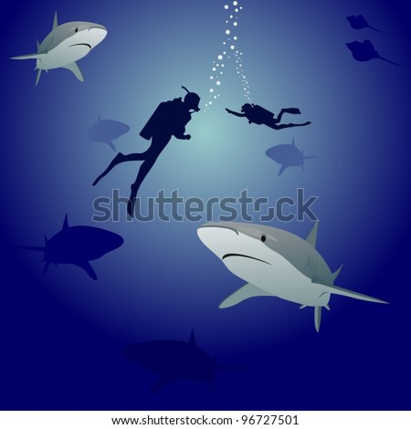 Scuba divers in the sea, surrounded by marine predators-sharks - stock vector