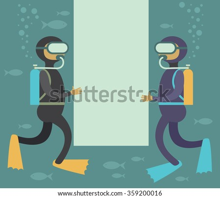 Scuba divers underwater holding blank space for your copy - stock vector