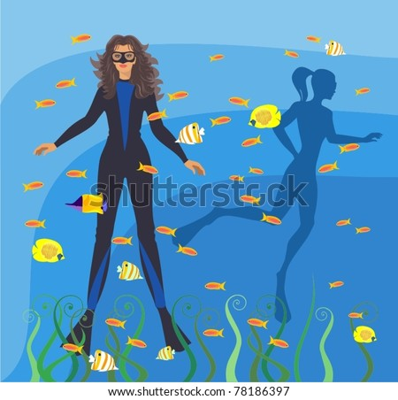 scuba diving - stock vector