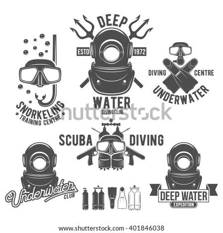scuba diving labels set underwater swimming stock vector