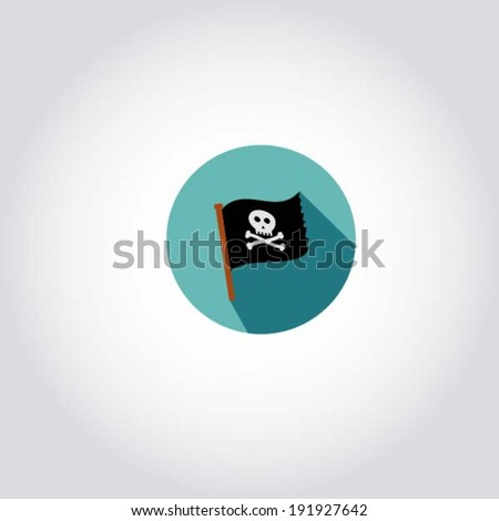 Scull and bones / Jolly Roger flag - pirate icon, web symbol, app design element, vector illustration - stock vector