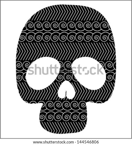 Scull with graphic pattern - stock vector