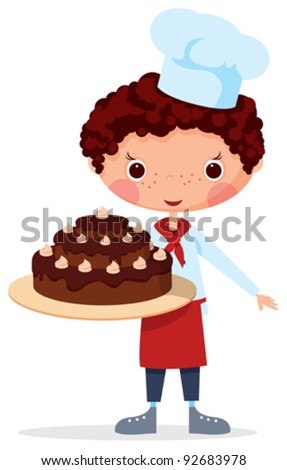 Scullion with cake EPS10. Contains transparent objects used for shadows drawing - stock vector