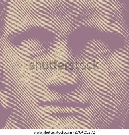 sculptural portrait of a woman, retro engraving style. vector illustration  - stock vector