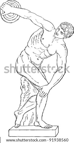 Sculpture discus thrower by Myron of Eleutherae - greek sculpture / vintage illustration from Meyers Konversations-Lexikon 1897 - stock vector