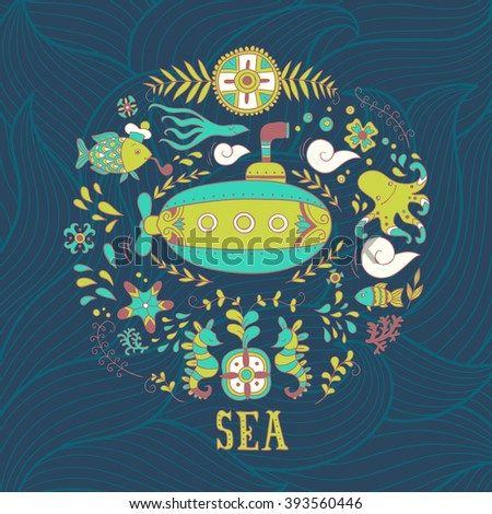 Sea adventure. vector hand drawn background - stock vector