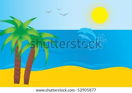sea and beach - stock vector