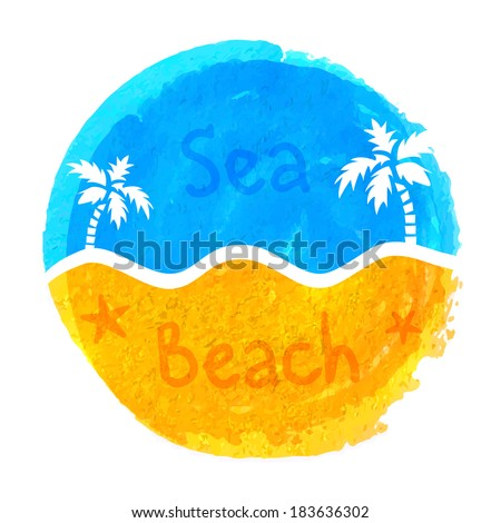 Sea and beach abstract watercolor symbol - stock vector