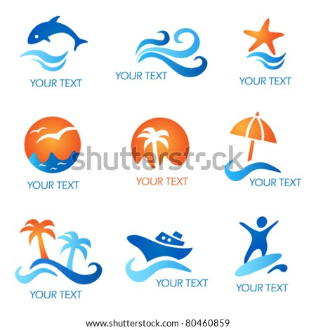 Sea and Beach Icons - stock vector