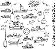 Sea and hand-drawn boat set - stock vector