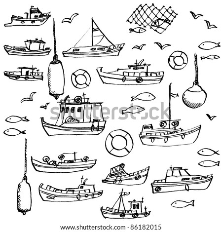 Sea and hand-drawn boat set - stock vector