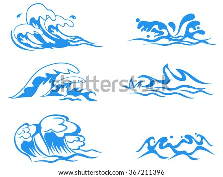 sea and ocean waves set - stock vector