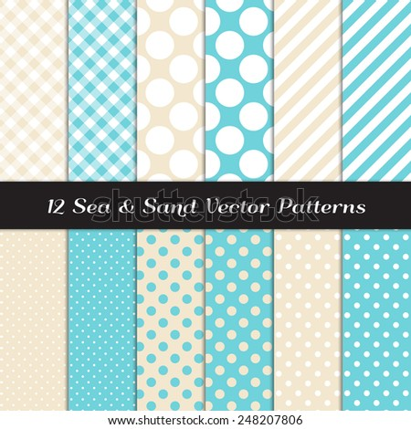 Sea and Sand Color Gingham, Polka Dot and Candy Stripes Patterns. Modern Geometric Backgrounds. Vector EPS File Pattern Swatches made with Global Colors. - stock vector