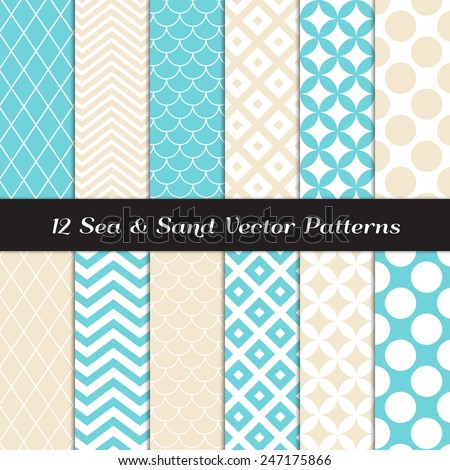 Sea and Sand Color Retro Geometric Patterns. Backgrounds in Aqua Blue and Beige Jumbo Polka Dot, Diamond Lattice, Scallops, Quatrefoil and Chevron. Vector EPS File Pattern Swatches with Global Colors. - stock vector