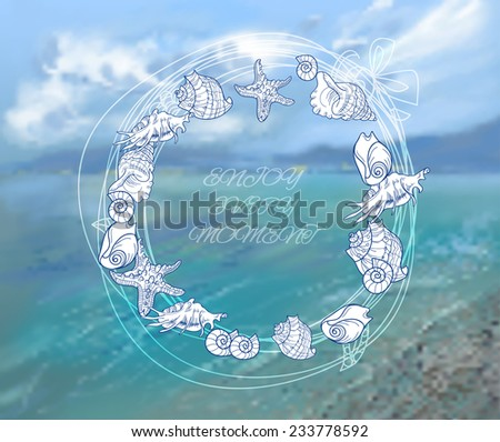 Sea and sky  background vector illustration with seashell frame - stock vector