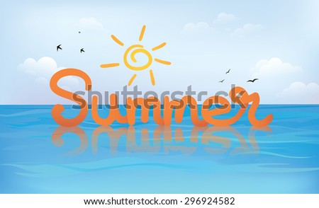 """Sea and sky background with handwritten """"Summer"""" typography - stock vector"""