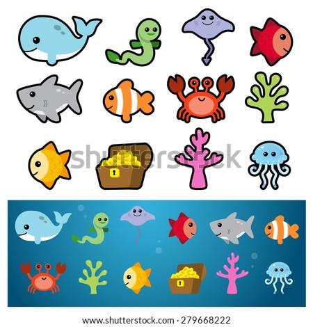 Sea Animal Icons - stock vector