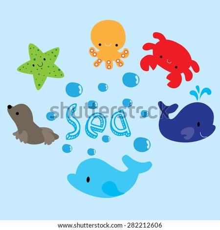 sea animals  - stock vector