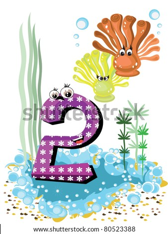 Sea animals and numbers series for kids 2 ,anemones - stock vector