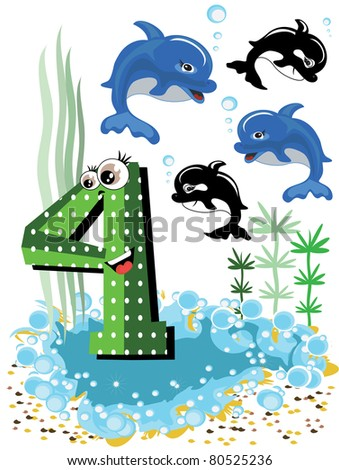 Sea animals and numbers series for kids ,4,dolphins. - stock vector