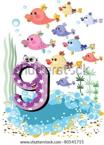 Sea animals and numbers series for kids, from 0 to 10 -,9 fish - stock vector