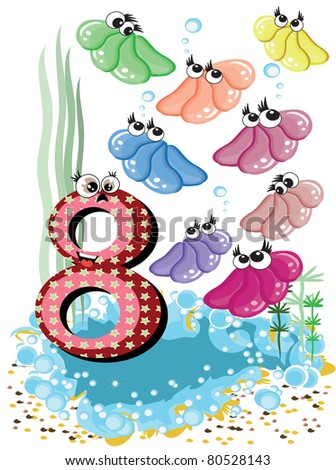 Sea animals and numbers series for kids ,8,shells - stock vector