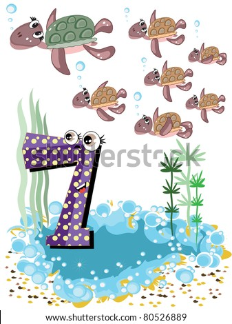 Sea animals and numbers series for kids ,7 turtles - stock vector