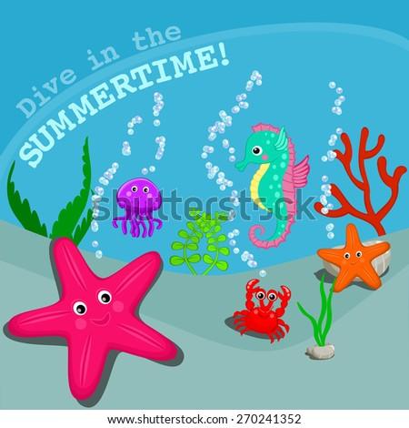 Sea animals cartoon vector illustration Sea bottom card Sea life vector Cute starfish, seahorse, crab, jellyfish cartoon characters with seaweeds and corals Sea theme card vector - stock vector