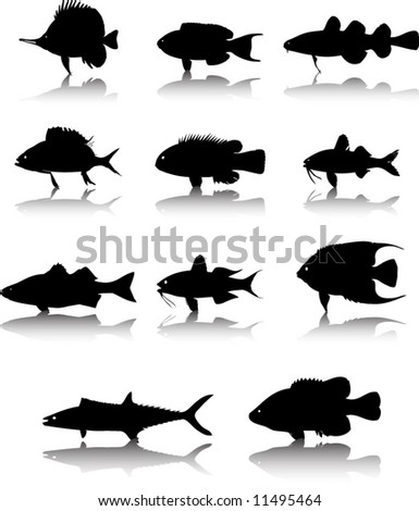 Sea animals fish silhouettes set