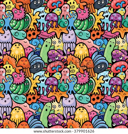 Sea animals seamless pattern. Vector background - stock vector