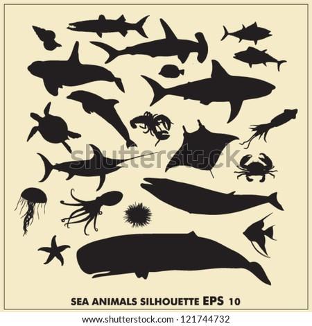 Sea animals silhouette - stock vector