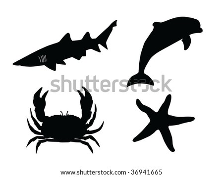 sea animals vector silhouette - stock vector