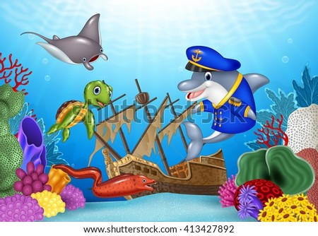 Sea animals with Shipwreck on the ocean - stock vector