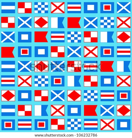 Sea background with international maritime signal flags. Concept of seaside, resort, vacation, diving. Texture for print, wallpaper, textile, cover. - stock vector