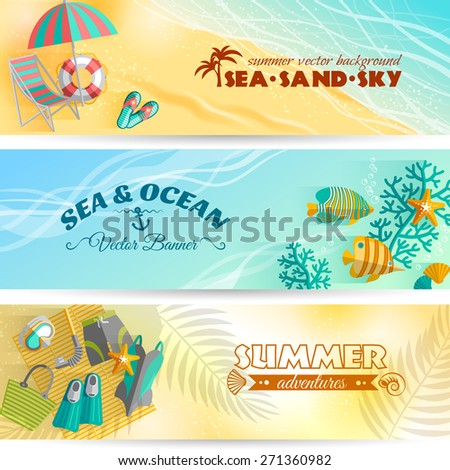 Sea beach summer holiday adventures horizontal banners set with swimming and diving accessories abstract isolated vector illustration - stock vector