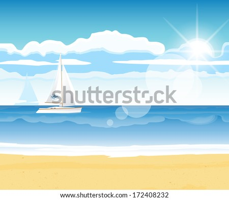 Sea beach with a boat on the horizon for summer design - stock vector