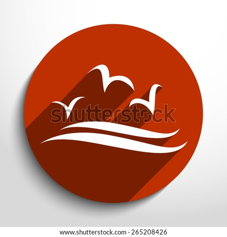 Sea birds flat icon illustration. - stock vector