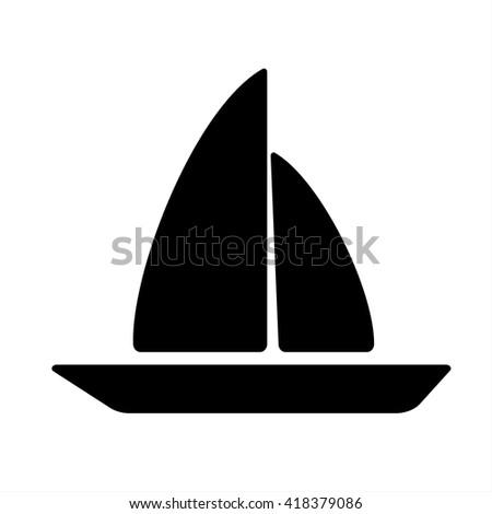 sea boat swimming sailing travel beach icon simple black - stock vector