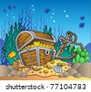 Sea bottom with old treasure chest - vector illustration. - stock vector