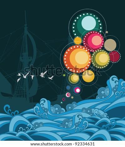 Sea composition - stock vector
