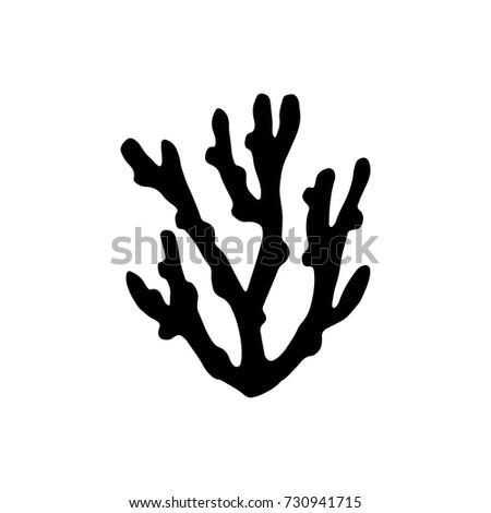 Sea Coral Silhouette Vector Black