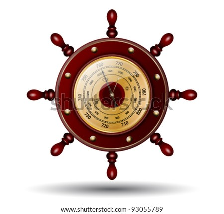 Sea-craft steering wheel with weather glass - stock vector