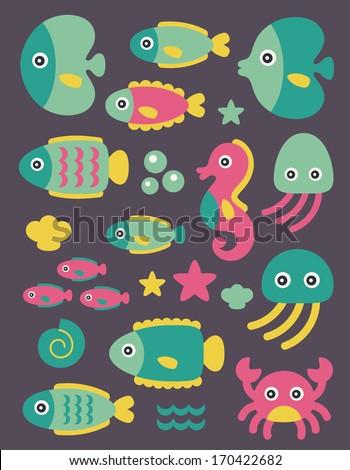 sea creatures collection. vector illustration - stock vector